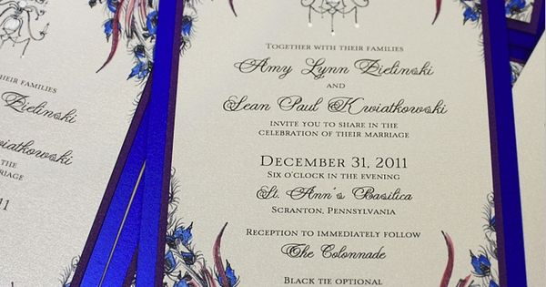 Peacock inspired wedding invitations. Fabulous color.