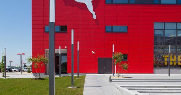 Fabulous klaus krex puma vision headquarters u shoe box red alucobond panels architecture europe Pinterest Architecture Urban design and Architects