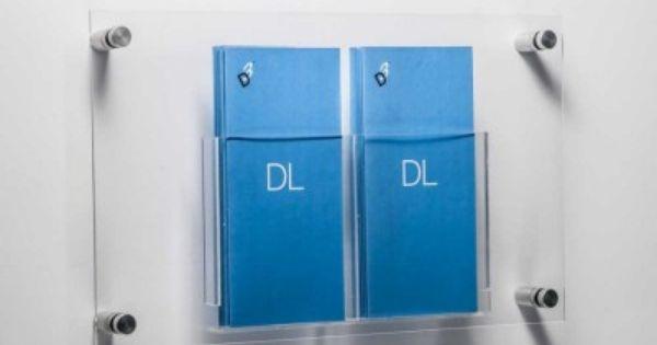 DL Leaflet Holders - Two or Four Acrylic Pockets + Aluminium Wall Fixings - Wall Mounted Brochure Display Rack - RIDÅ By Joel Karlsson - KARL
