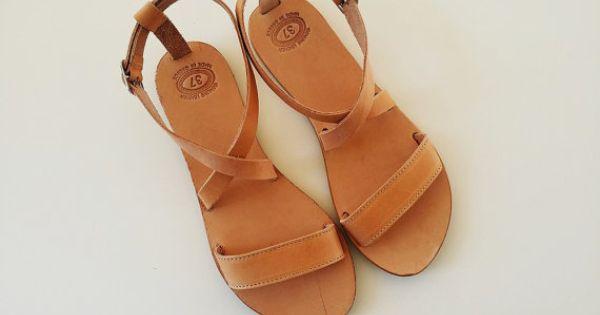 Open Toe Greek Leather Sandals - Women  Handmade Greek Sandals