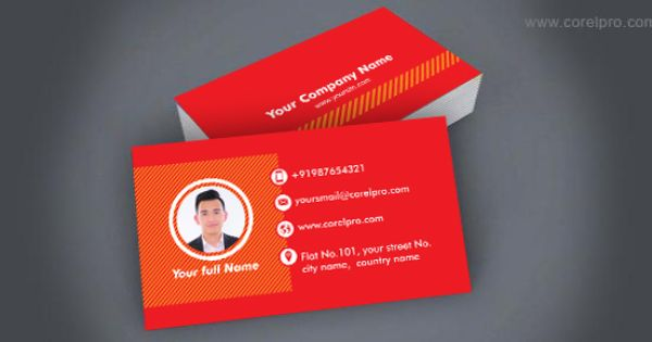Business Card Template Red Corelpro Free Business Card Templates Business Cards Creative Templates Business Cards Creative