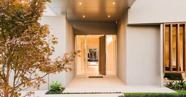 Flachdachhaus modern minimalismus garten vorgarten eingang for Minimalismus hausbau