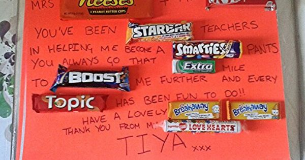 Thank you letter using chocolate bars | Chocolate bar ...