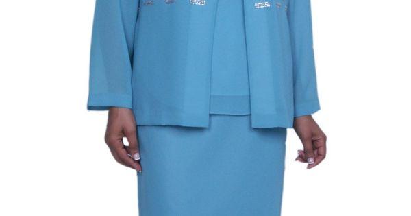 Church Usher Dress Aqua 3 Piece Plus Size Tea Length With