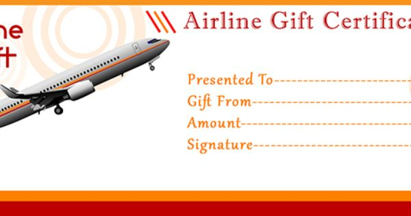 Airline gift certificate template free gift certificate for First flight certificate template