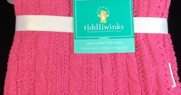 Tiddliwinks Chenille Cable Knit Hot Pink Baby Blanket New