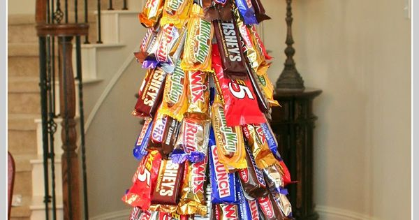 Candy bar christmas tree. A shorter one for a simple gift.