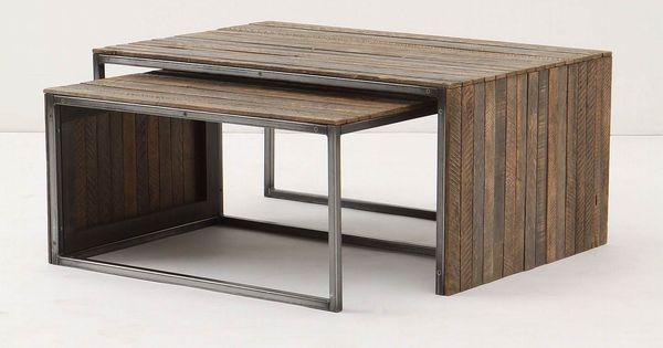 Greige Metal Recycled Wood Planks Coffee Table Nesting Furniture Muebles Rusticos