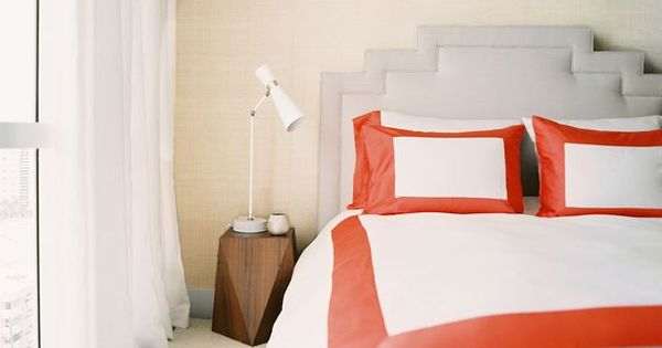 Suzie: Lonny Magazine - Michelle Adams - High-rise bedroom with sand grasscloth