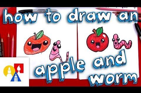 Nice How To Draw A Cartoon Apple And Worm Art For Kids Hub