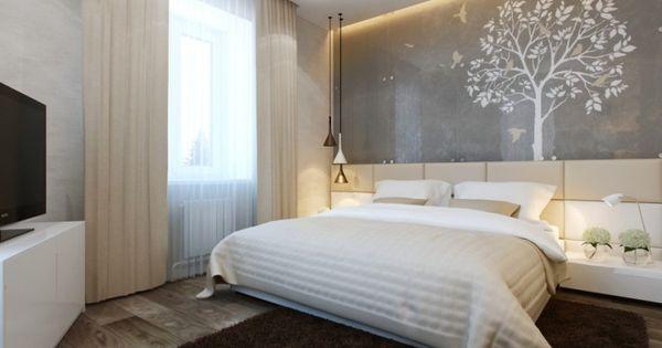 modernes schlafzimmer in neutralen farben wei er baum