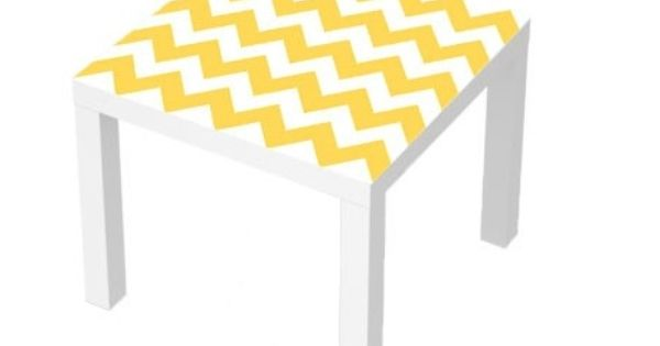 Sticker table basse lack 55x55 chevron jaune chambre d for Fenetre 55x55
