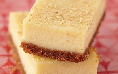 a delicious holiday dessert: eggnog cheesecake bars. Again not much of an