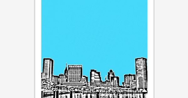 Baltimore Skyline Poster Art City Print 8x10 By
