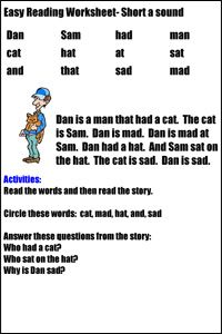 Easy Reading Worksheets | Reading worksheets, Story for ...