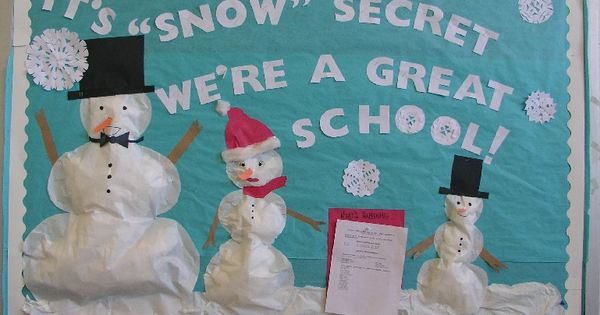 "cute winter bulletin board idea- ""it's snow secret the library has great"