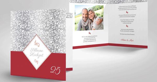 Einladungskarten silberhochzeit selber basteln bastelanleitungen pinterest - Pinterest einladungskarten ...