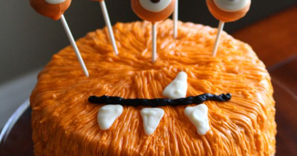 Halloween monster cake idea with cake pop eyeballs