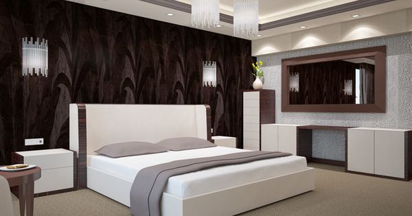 Download Wallpapers Stylish Bedroom Modern Design Bedroom Bed Modern Interior Gray Bedroom Besthqwallpapers Com Chambre A Coucher Design Moderne Parement Mural