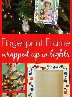 This Fingerprint Christmas Lights Photo Frame Makes The Best Gift Christmas Kindergarten Christmas Classroom Christmas School