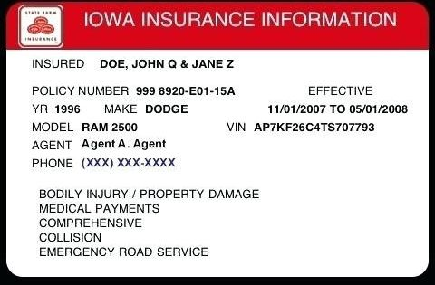 Free Fake Auto Insurance Card Template Telephone Number For