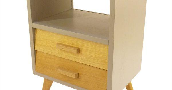 table de chevet design scandinave des ann es 50 avec pieds compas enti rement restaur e pieds. Black Bedroom Furniture Sets. Home Design Ideas