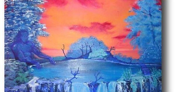 Warm koud contrast op de voorgrond zie je bomen en een waterval de bomen en de waterval hebben - Warme en koude kleuren in verf ...