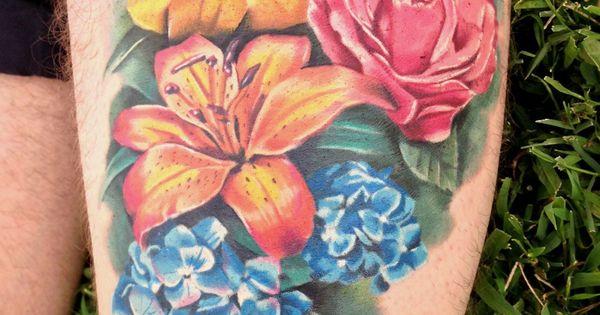 Brooke Hume Tattoo: Hydrangea, Tigerlily, Rose, And Daffodil