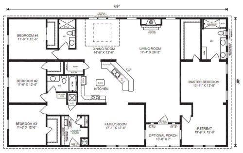 4 Bedroom 3 Bath Ranch Plan Google Image Result For House Plans Modular Home Floor Plans Ranch House Floor Plans Basement House Plans