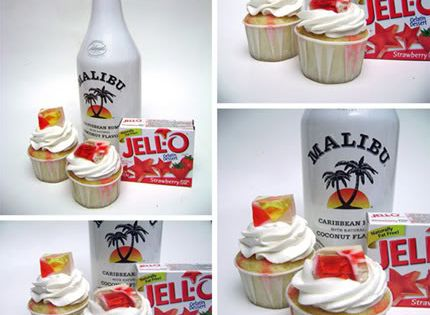 Strawberry Coconut Rum cupcakes, sounds yummy!