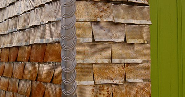Recycled Tin Can Shed Siding Huh Cool Look Wonder How