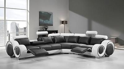 Vig Divani Casa 4087 Black White Bonded Leather Sectional Sofa Special Order Sectional Sofa With Recliner Sectional Sofa Leather Sectional Sofas
