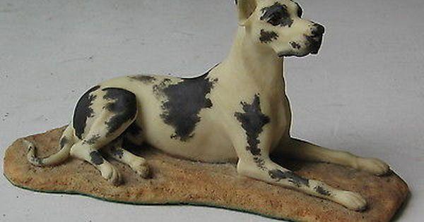Vintage Harlequin Great Dane Lying Down Figurine Niko Spain
