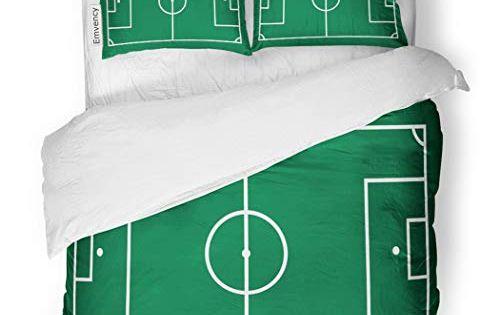 Sanchic Duvet Cover Set Green Pitch Soccer Field Football Plan Game Goal Decorative Bedding Set With Pillow Sham Twin Si Duvet Cover Sets Bed Decor Bedding Set