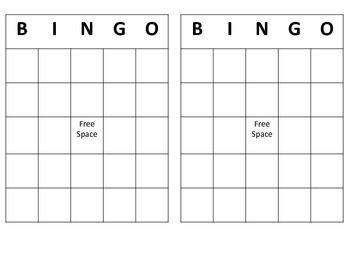 Free Bingo Template Bingo Template Bingo Card Template Bingo Cards Printable Templates