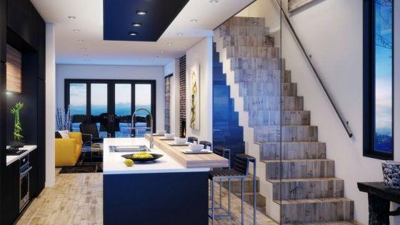 Dise o de moderna casa de dos pisos construida en terreno for Interior de casas modernas