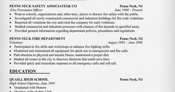 fire safety officer resume sample http resumecompanion