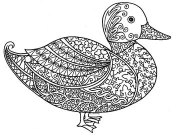 Duck Coloring Page Zentangle Artwork Farm Animal Coloring Pages Folk Embroidery