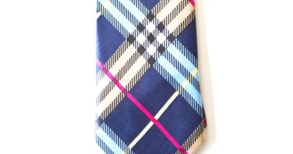 Mens Multi Color Blue Necktie Modern Tartan Style by HelloMrSmith