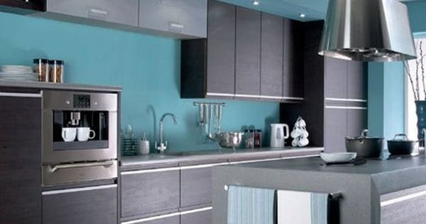 Cocina Color Turquesa 2 Jpg 492 320 Pixeles Shaker Style Kitchen Cabinets Contemporary Kitchen Kitchen Colors