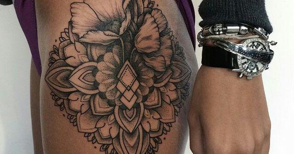 Hip thigh mandala flower tattoo tattoos pinterest for Mandala hip tattoo
