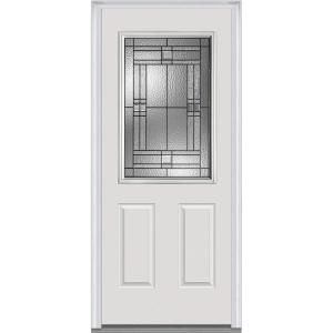 Milliken Millwork 32 In X 80 In Roman Decorative Glass 1 2 Lite 2 Panel Primed Fiberglass Smooth Prehung Front Door Z021403r At Mmi Door Front Door Paneling