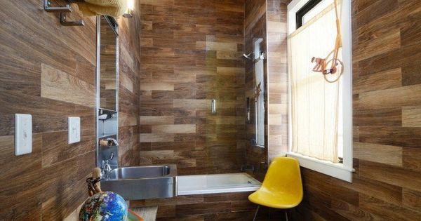 Carrelage mural aspect bois massif tablier de baignoire for Carrelage salle de bain jaune