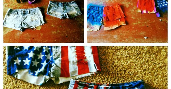 4th of July shorts!She used spray paint and tape to make the