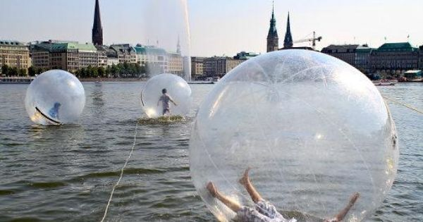 'Walk Water Balls' on Lake Alster in Hamburg, Germany