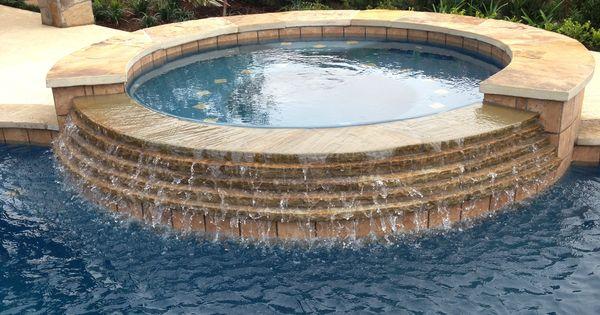 Inground Spas With Stack Stone : Inground swimming pool stacked stone spa spillway pools