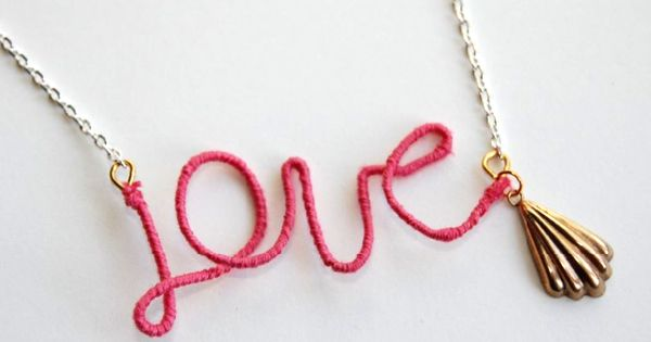 DIY Wire Necklace : DIY Thread Wrapped Love Necklace : DIY Jewelry