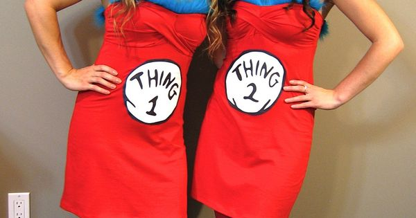 Thing 1 & Thing 2 Halloween Costume idea. Adorable!