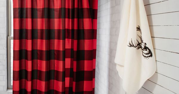 Buffalo check shower curtain simons decor bathroom chalet curtains pinterest buffalo