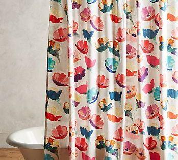 Magnolia Shower Curtain Anthropologie Boho Curtains Bathroom Design Shower Curtain